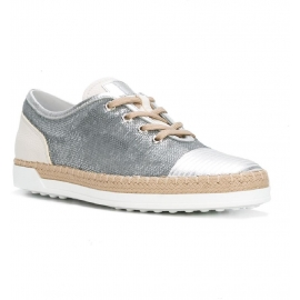 Sneakers Tod's donna in paillettes e pelle argento
