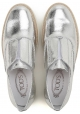 Sneakers slip-on Tod's donna in pelle laminata argento