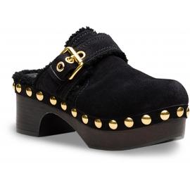 Zoccoli Car Shoe in pelle di pecora nero
