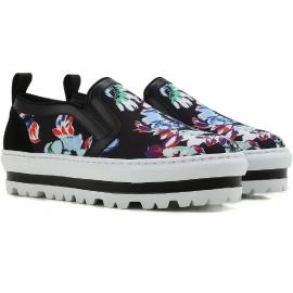 Sneakers slip-on zeppa MSGM in pelle e tessuto nero stampa floreale