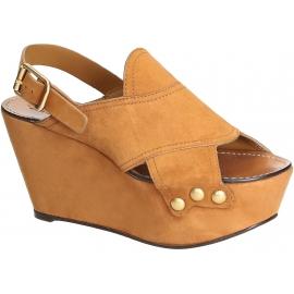 Sandali zeppe Chloé in pelle camoscio color cammello