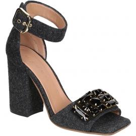 Sandali tacco alto Marni in Feltro Grigio scuro e cristalli