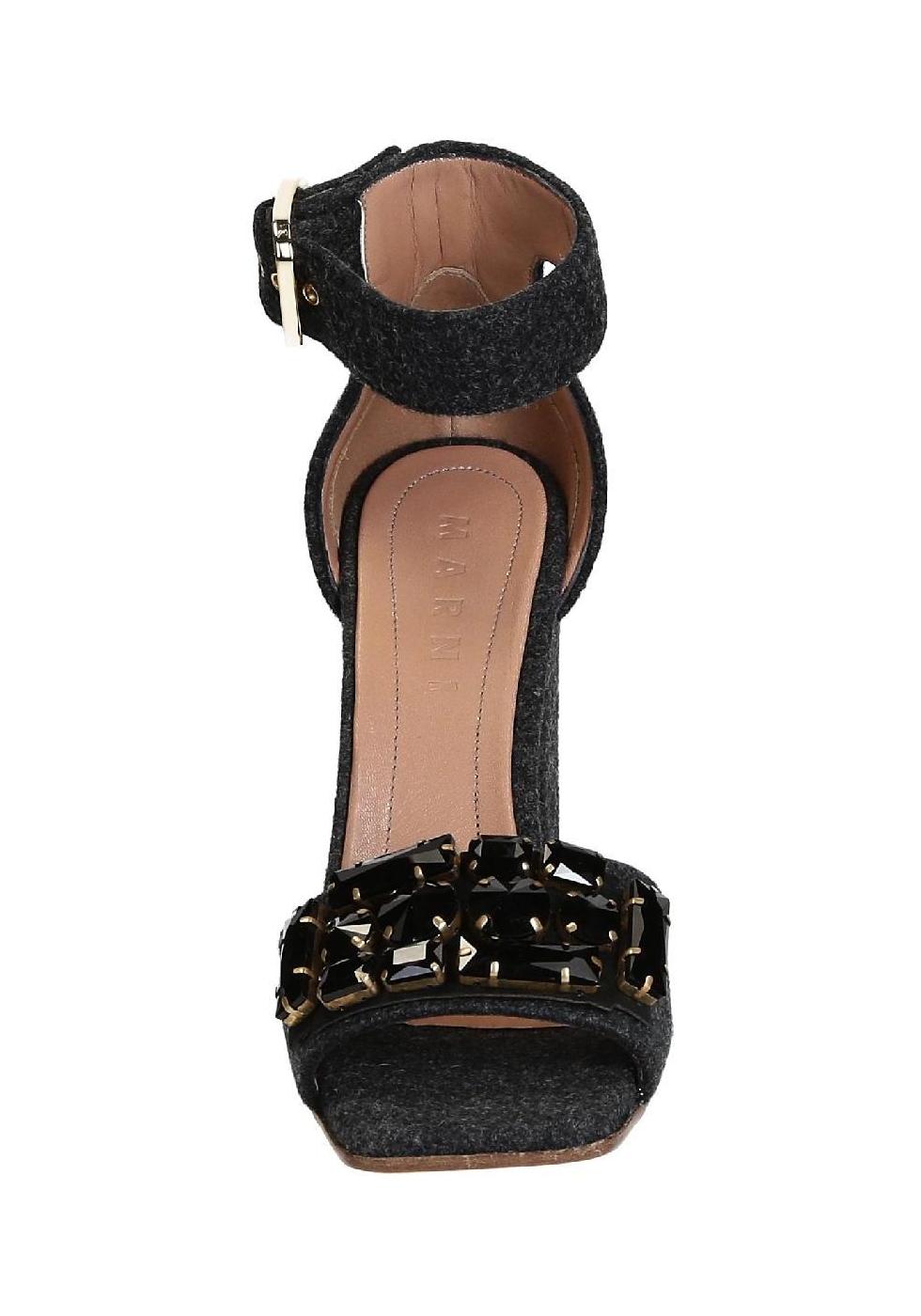 Sandali tacco alto Marni in Feltro Grigio scuro e cristalli italian-boutique neri oQdQCOlkM