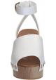 Sandali zeppa in legno Céline in Pelle di vitello bianco