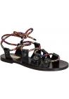 Sandali bassi Valentino in pelle Antracite e lacci multicolore