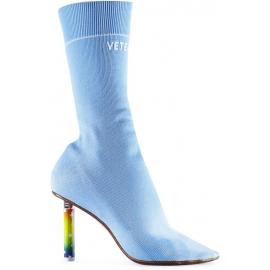 Stivaletti tessuto elasticizzato azzurro tacco accendino