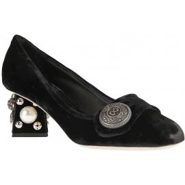 Decoltè tacco squadrato Dolce&Gabbana in velluto nero