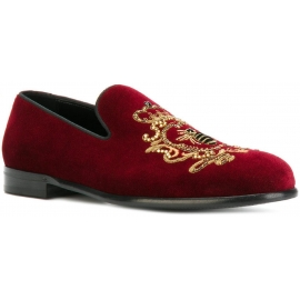 Mocassini Dolce&Gabbana uomo in velluto bordò