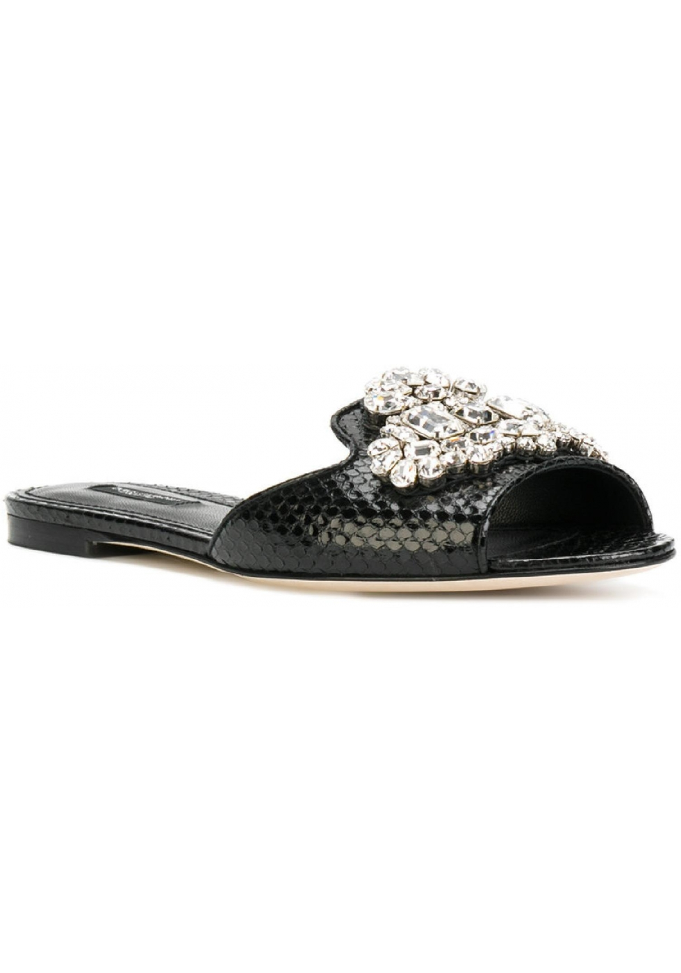 6fa97679b0a93a Ciabatte Dolce Gabbana in pelle di rettile nero con cristalli ...