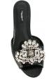 Ciabatte Dolce&Gabbana in pelle di rettile nero con cristalli