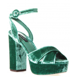 Sandali con plateau Dolce&Gabbana in velluto verde