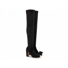 Stivali sopra al ginocchio Valentino in tessuto effetto camoscio nero