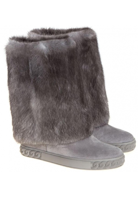 Stivali al ginocchio Casadei in camoscio e pelliccia grigio