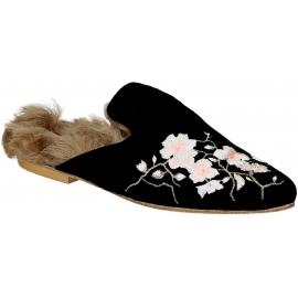 Ciabatte chiuse con pelliccia Gia Couture in velluto nero