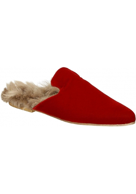 Ciabatte chiuse con pelliccia Gia Couture in velluto rosso