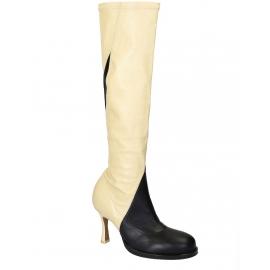 Stivali al ginocchio Céline in nappa nero/bianco