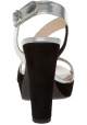 Sandali Prada in pelle laminata argento e camoscio nero