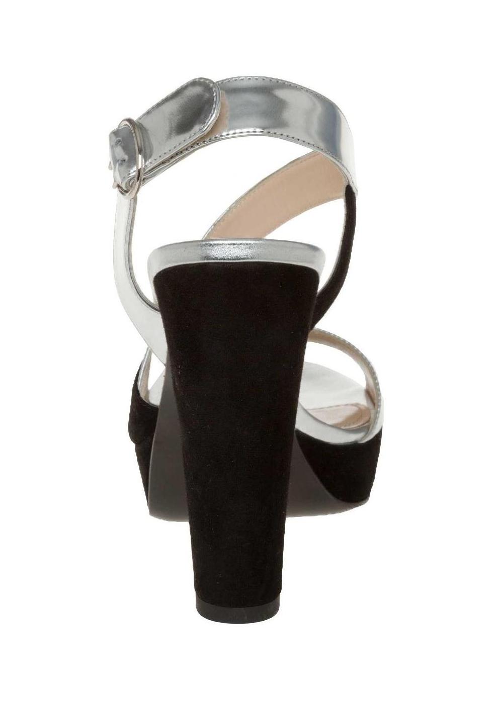 prada Sandali Prada in pelle laminata argento e camoscio nero yBI3I