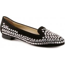 Loafers Le Capresi in camoscio nero con swarovski