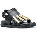 Sandali bassi Marni in pelle nero con frange e perle