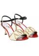 Sandali tacco alto Dolce&Gabbana Amore in pelle e tessuto
