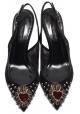 Sandali aperti dietro Dolce&Gabbana in pelle e tessuto nero