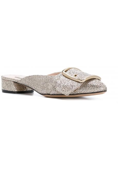Ciabatte chiuse Casadei in brillantini color platino
