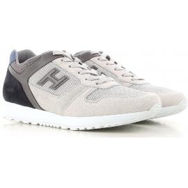 Sneakers Hogan uomo in pelle grigio e bianco sporco