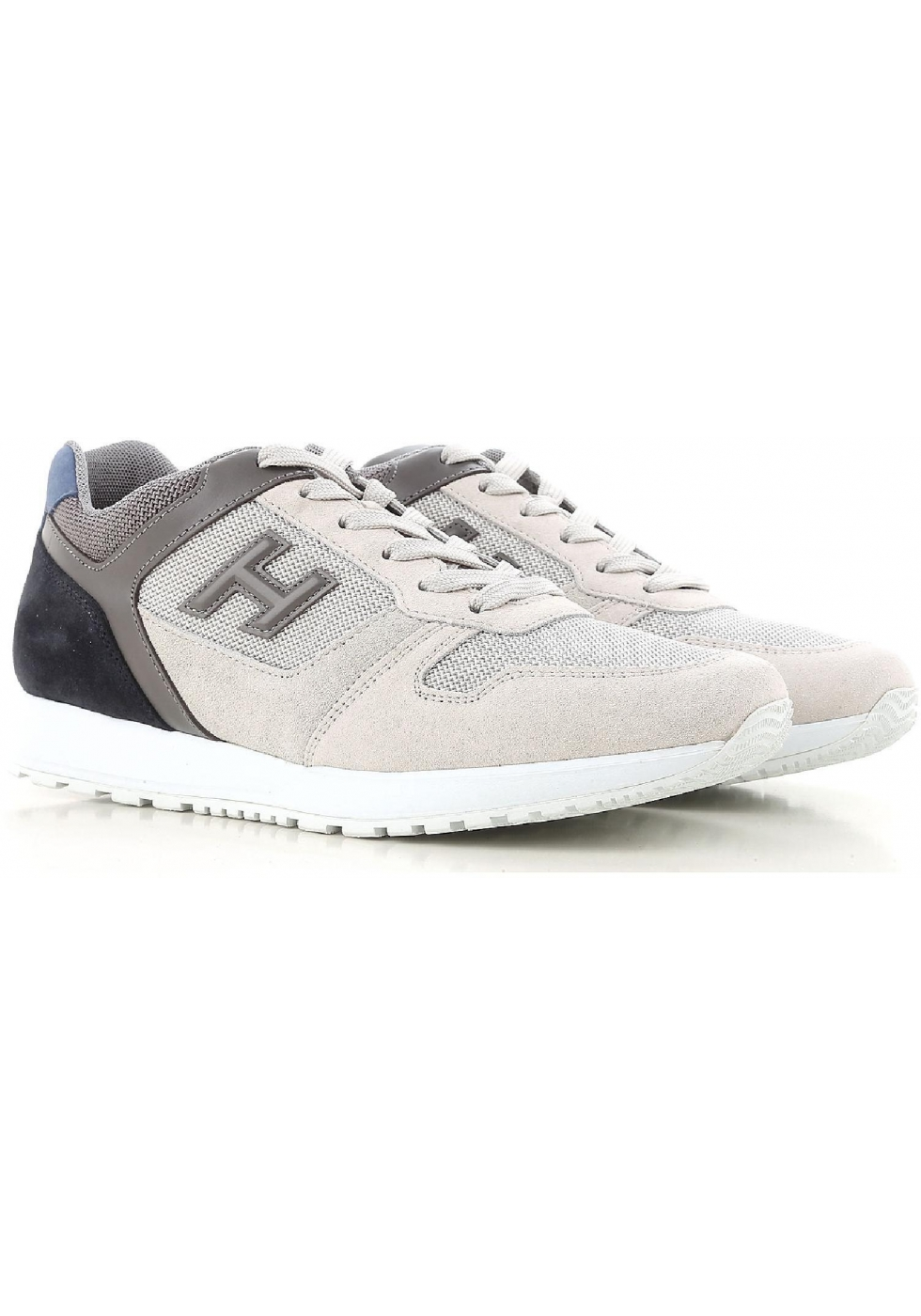 Sneakers Hogan uomo in pelle grigio e bianco sporco - Italian Boutique