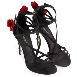 Sandali tacco alto Dolce&Gabbana in raso nero