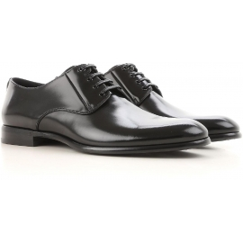 Stringate Dolce&Gabbana uomo in pelle di vitello lucida nero