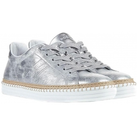 Sneakers Hogan da donna in pelle laminata argento