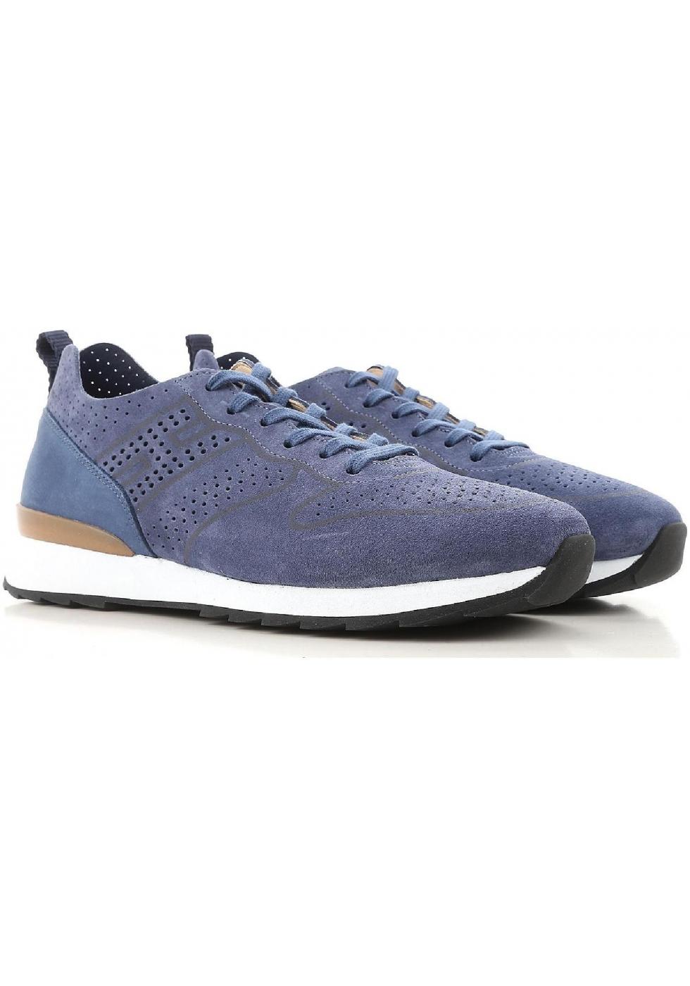 Sneakers Hogan uomo in pelle scamosciata blu - Italian Boutique