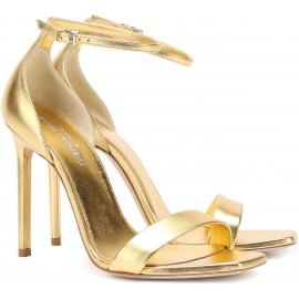Sandali tacco alto Saint Laurent in pelle laminato oro