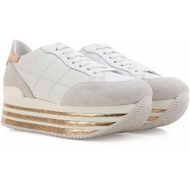 Sneakers zeppa Hogan in pelle e camoscio bianco