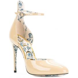 Sandali taccho alto Gucci in vernice color sabbia