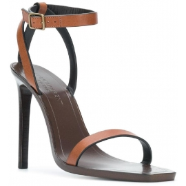 Sandali tacco alto Saint Laurent in pelle marrone