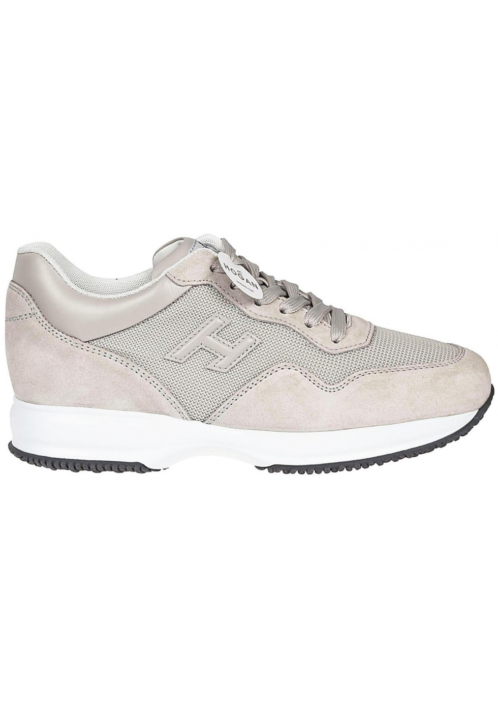 9ee27bdd44f7f Sneakers Hogan Interactive uomo in pelle scamosciata beige - Italian ...