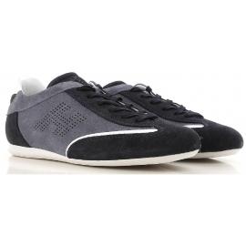 Sneakers Hogan uomo basse in pelle scamosciato doppio colore grigio e blu