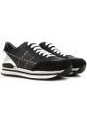 Sneakers Hogan donna in pelle nera e tallone laminato argento suola in gomma alta