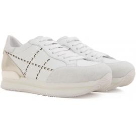 Sneakers Hogan donna in pelle bianca e tallone laminato argento suola in gomma alta
