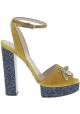 Gucci Sandali donna in pelle di vitello gialla con plateau blu