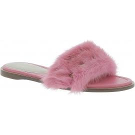 Valentino ciabatte donna in pelle rosa con pelliccia in tinta