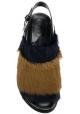 Marni Sandali bassi da donna in Pelliccia nera e marrone con fibbia posteriore