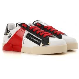 Dolce&Gabbana Sneakers uomo in pelle bianca con dettagli rossi e neri