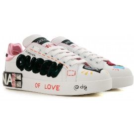 Dolce&Gabbana Sneakers donna in pelle bianca e rosa queen of love