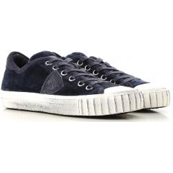 Philippe Model Sneakers donna in pelle blu scamosciata con suola bianca