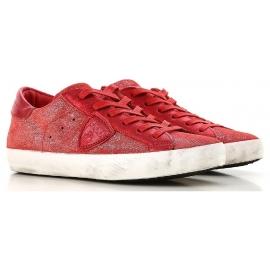 Philippe Model Sneakers donna in pelle rossa scamosciata con suola bianca
