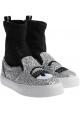 Chiara Ferragni Sneakers alte donna in tessuto argento e nero glitter