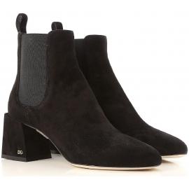 Dolce&Gabbana Stivaletti alla caviglia donna in pelle scamosciata marrone scuro